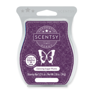 Dancing Sugar Plums Scentsy Bar Rich spiced plum falls right in step with visions of vanilla and sweet cinnamon apple.