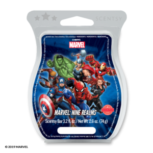 Marvel: Nine Realms - Scentsy Bar A heroic mix of LIME ZEST and BLUE TEA keep you connected to the universe, while LAVENDER LIGHTNING really packs a punch.