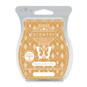 Salted Caramel Toffee Scentsy Bar The sweet scent of salted caramel takes melted toffee and butterscotch to new levels of indulgence.